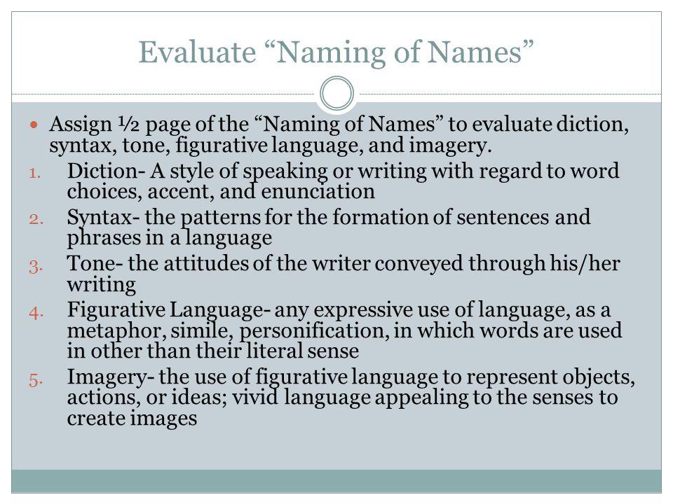 Evaluate Naming of Names