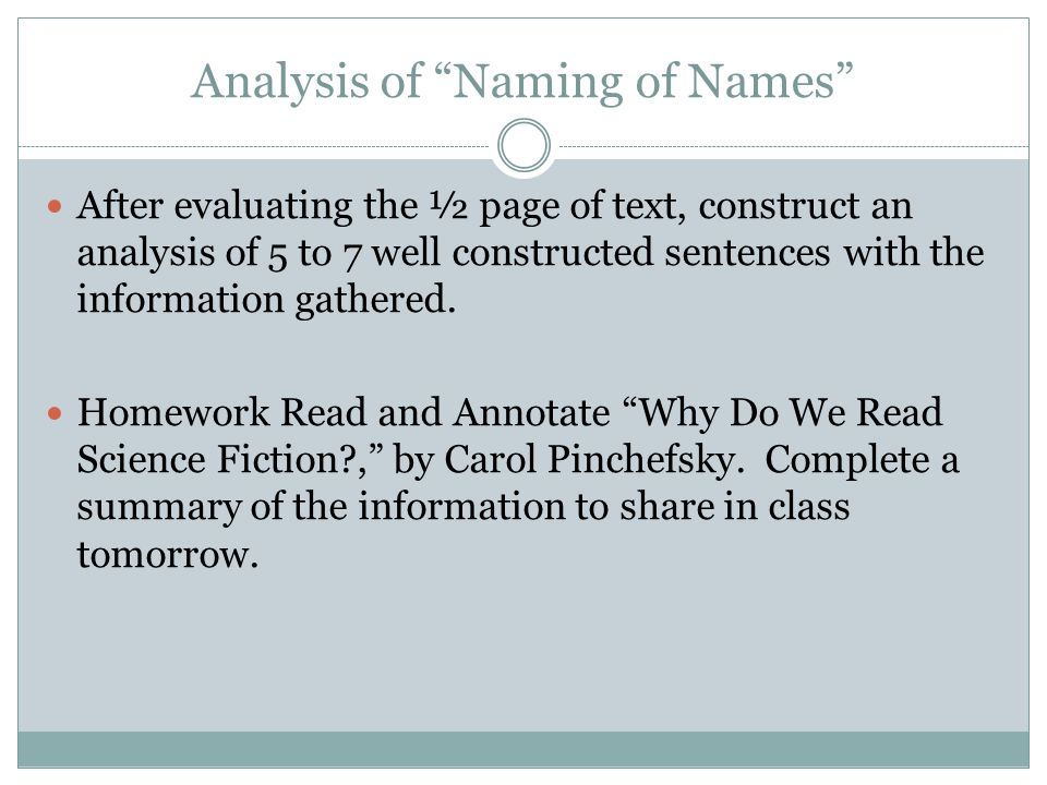 Analysis of Naming of Names