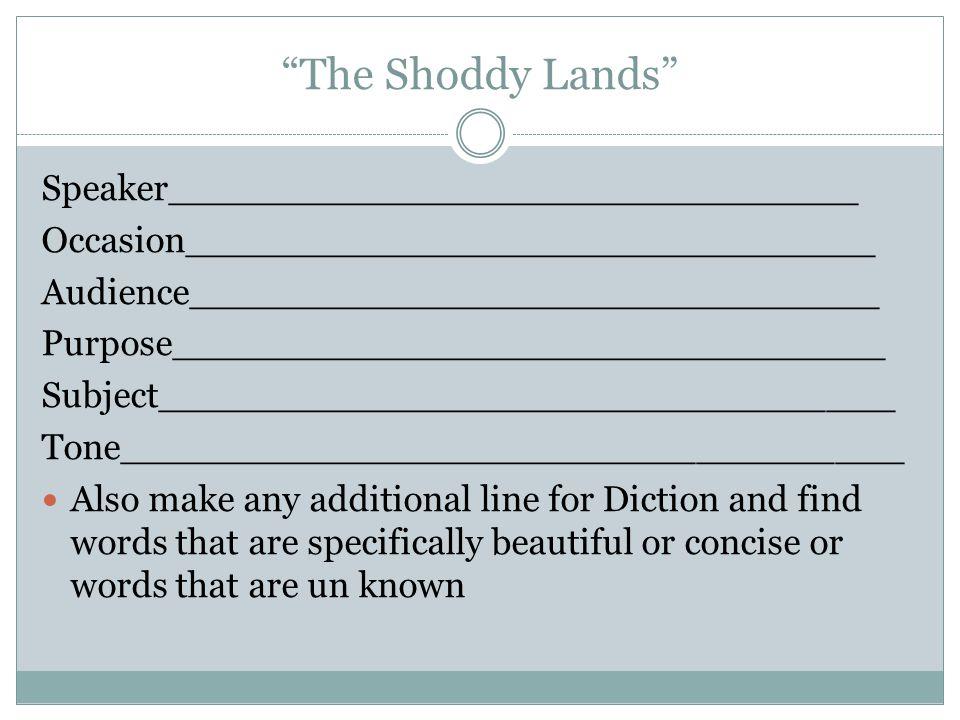 The Shoddy Lands Speaker______________________________