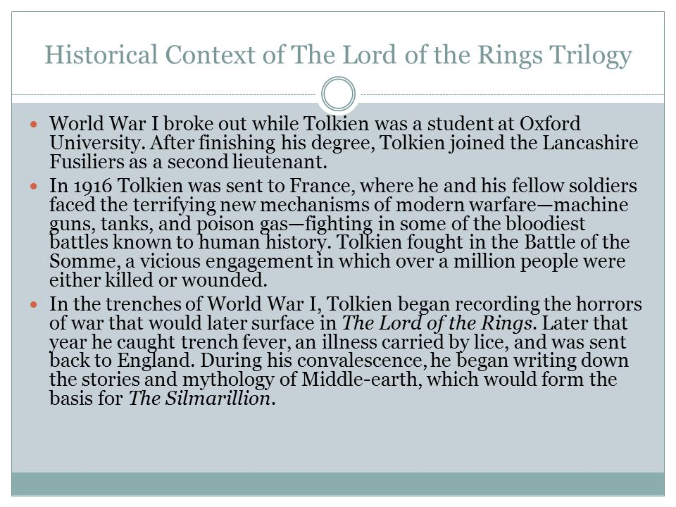 Historical Context of The Lord of the Rings Trilogy