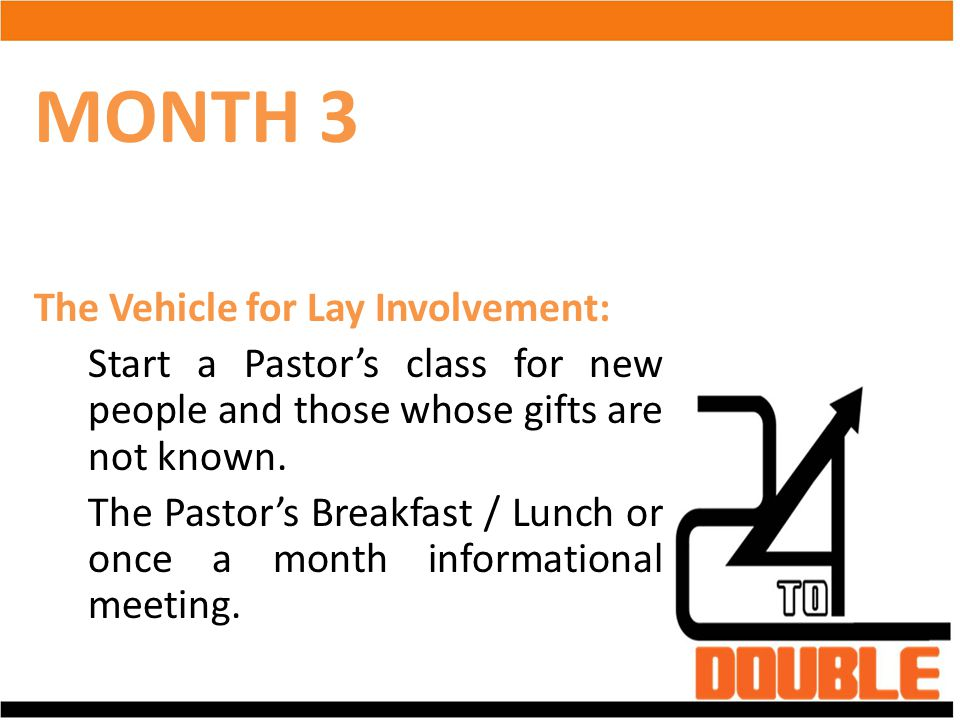 MONTH 3 The Vehicle for Lay Involvement: