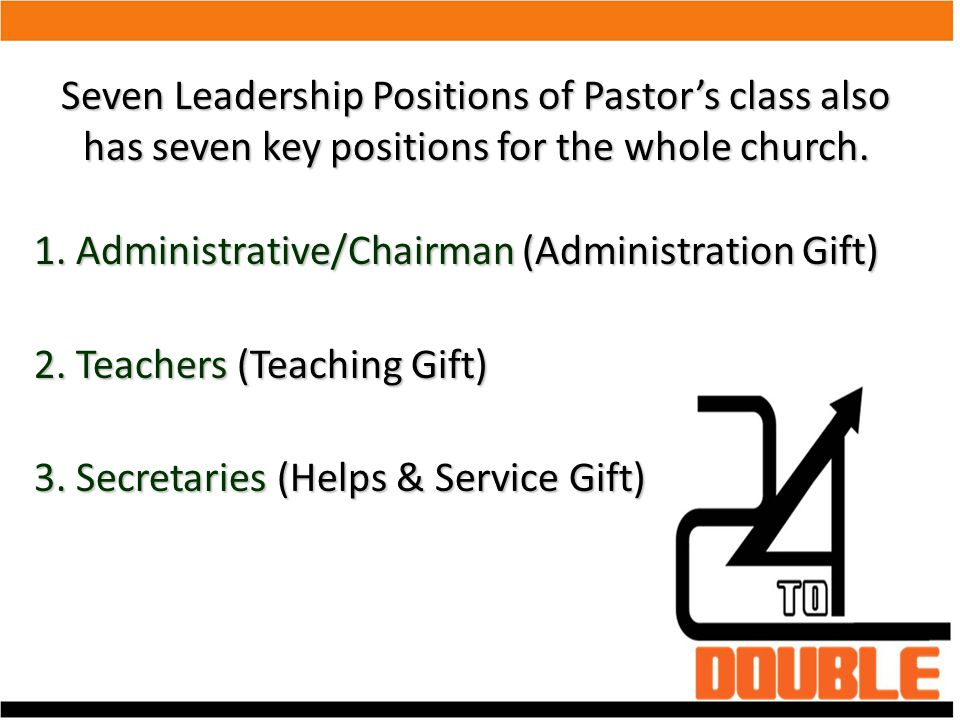 Seven Leadership Positions of Pastor's class also has seven key positions for the whole church.
