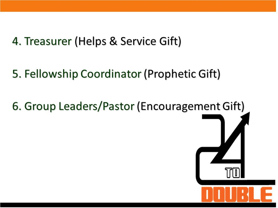 4. Treasurer (Helps & Service Gift)