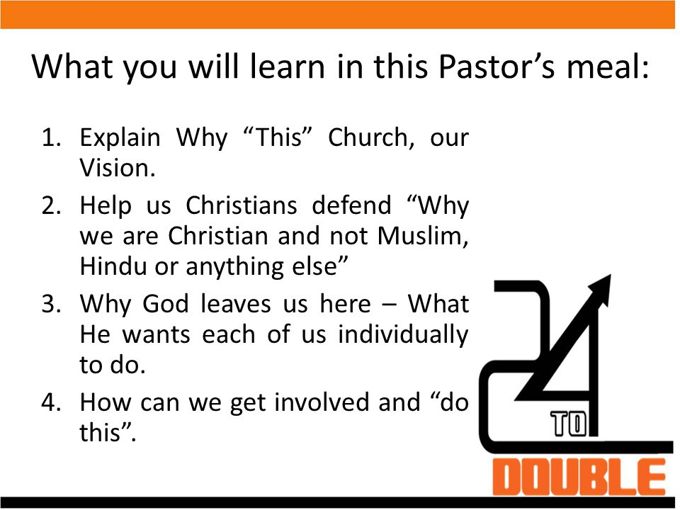 What you will learn in this Pastor's meal: