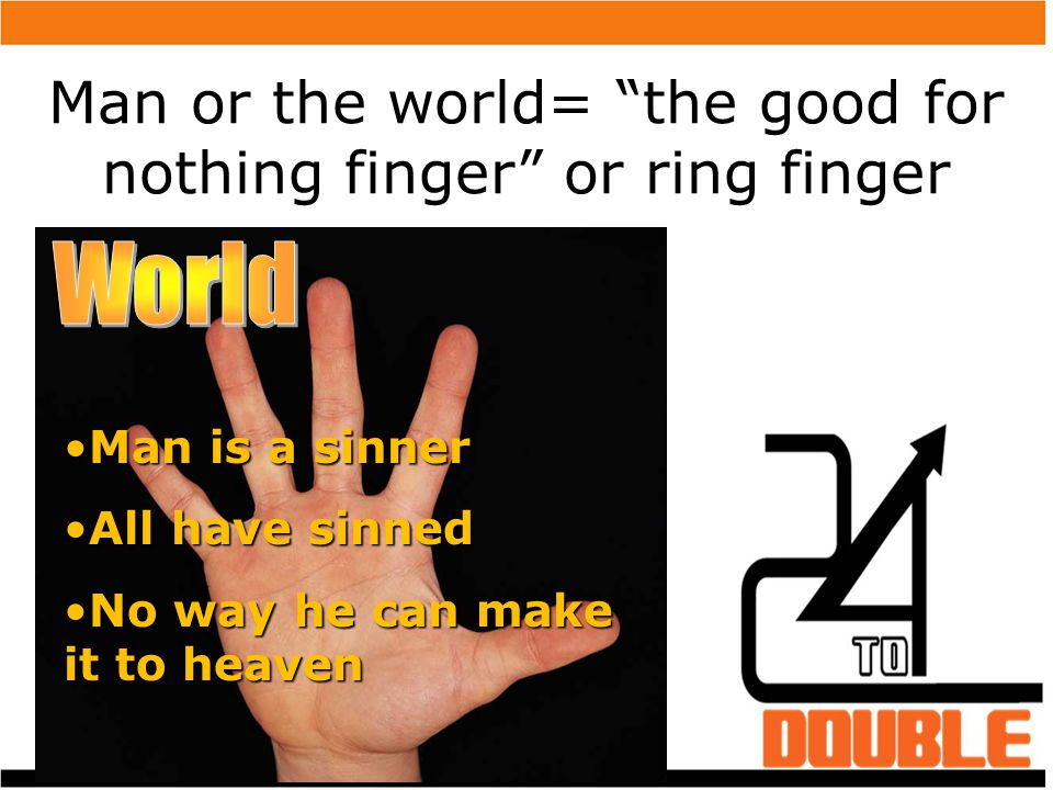 Man or the world= the good for nothing finger or ring finger