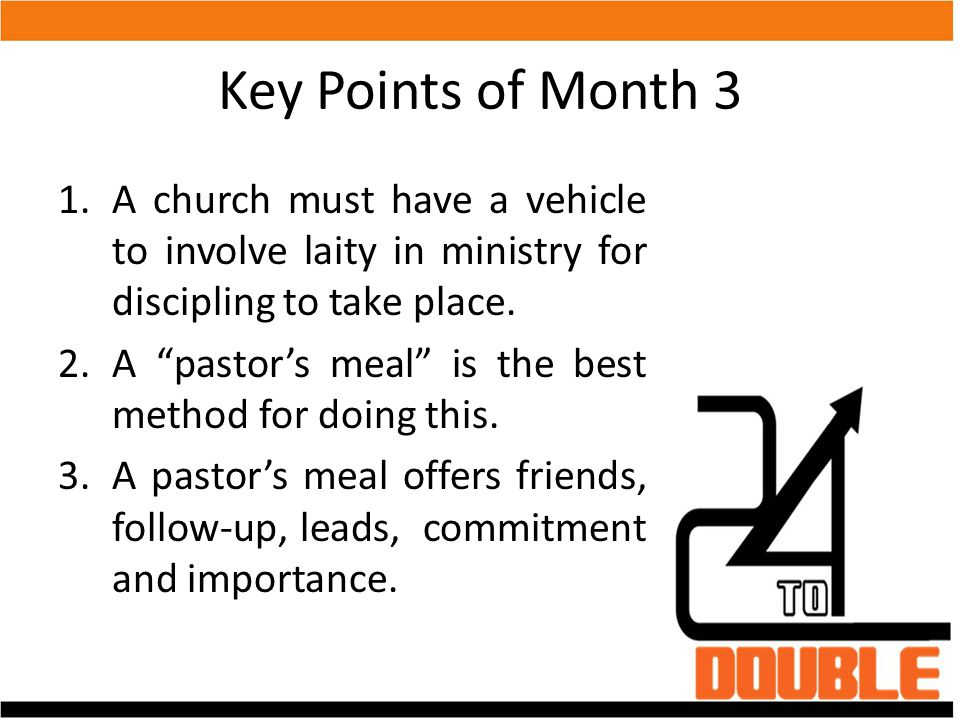 Key Points of Month 3 A church must have a vehicle to involve laity in ministry for discipling to take place.
