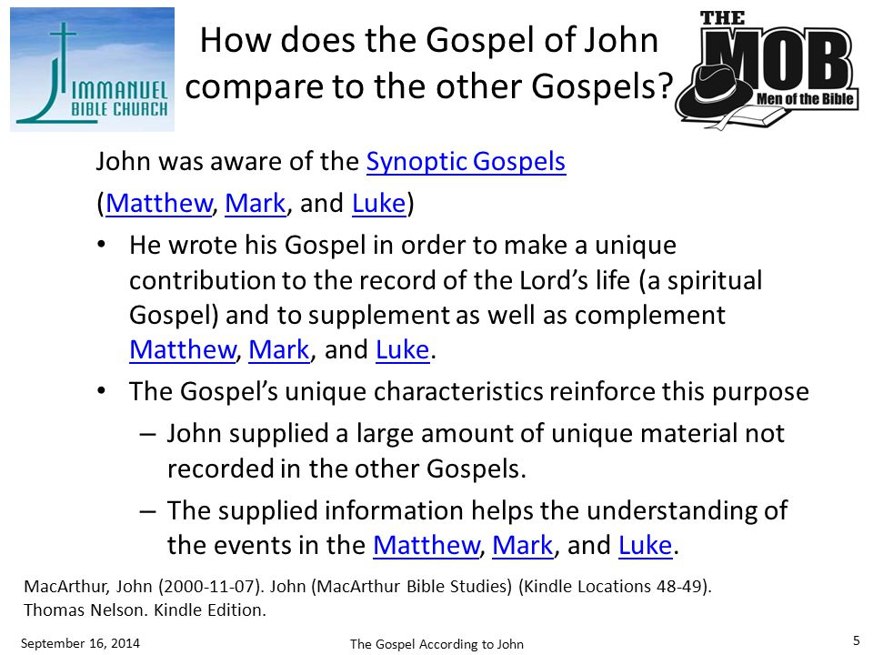 How does the Gospel of John compare to the other Gospels