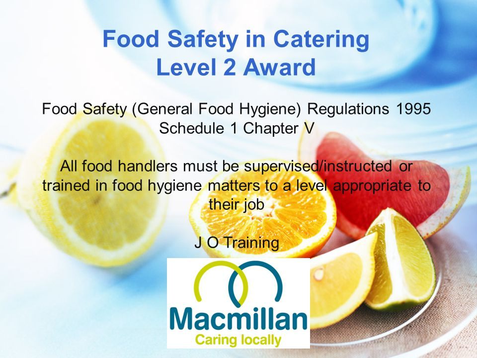 Food Safety in Catering Level 2 Award