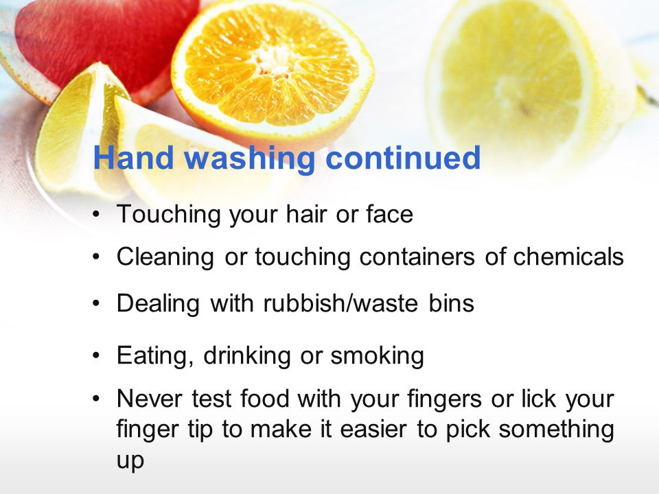 Hand washing continued