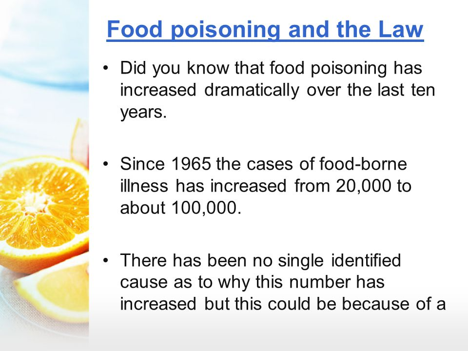 Food poisoning and the Law