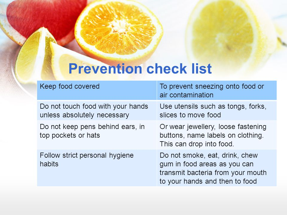 Prevention check list Keep food covered