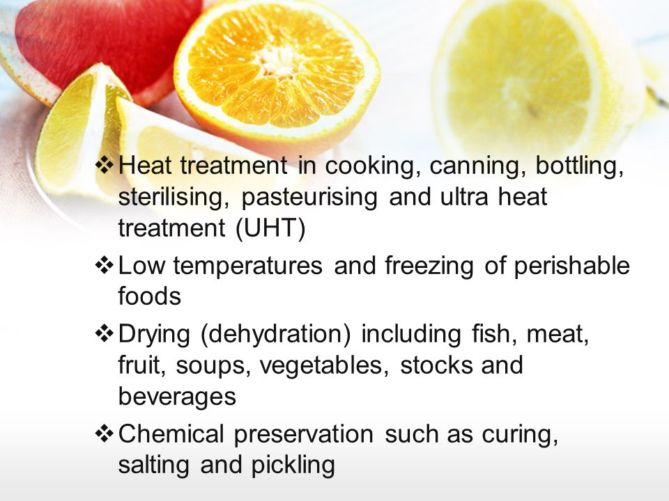 Heat treatment in cooking, canning, bottling, sterilising, pasteurising and ultra heat treatment (UHT)