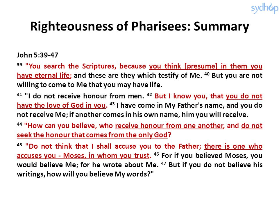 Righteousness of Pharisees: Summary
