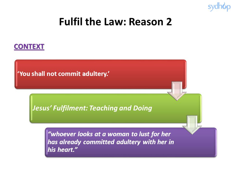 Fulfil the Law: Reason 2 CONTEXT Jesus' Fulfilment: Teaching and Doing