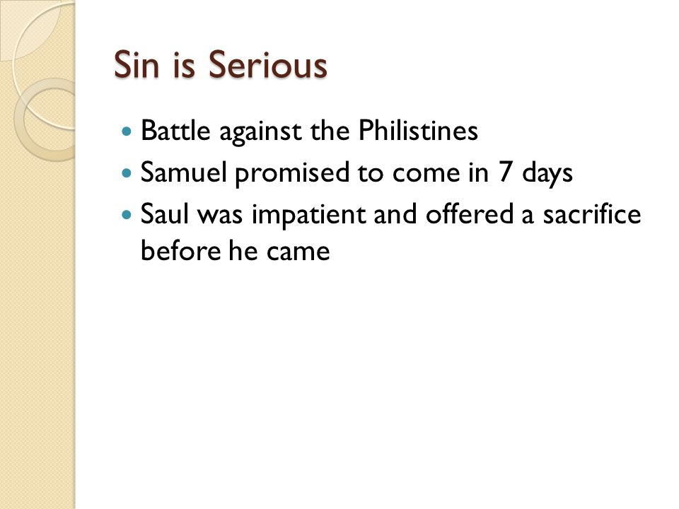 Sin is Serious Battle against the Philistines