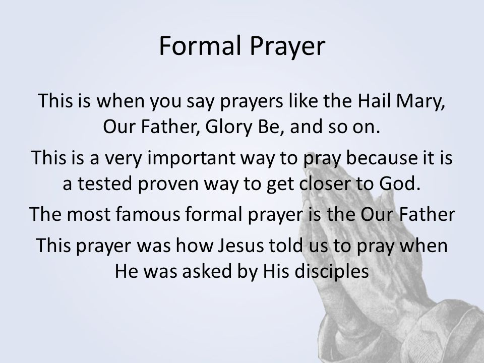 Formal Prayer