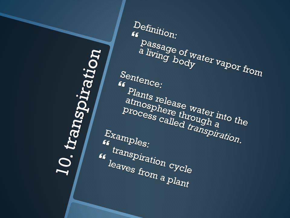 10. transpiration Definition: