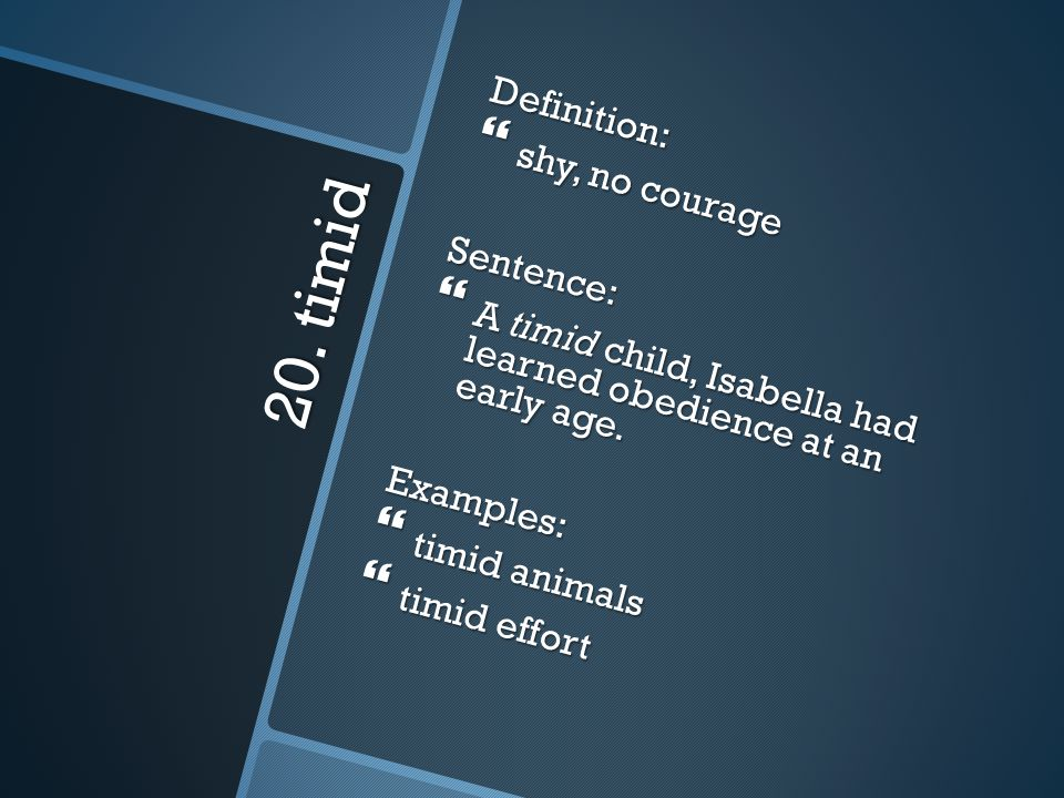 20. timid Definition: shy, no courage Sentence: