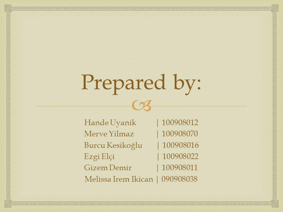 Prepared by: Hande Uyanik | 100908012 Merve Yilmaz | 100908070