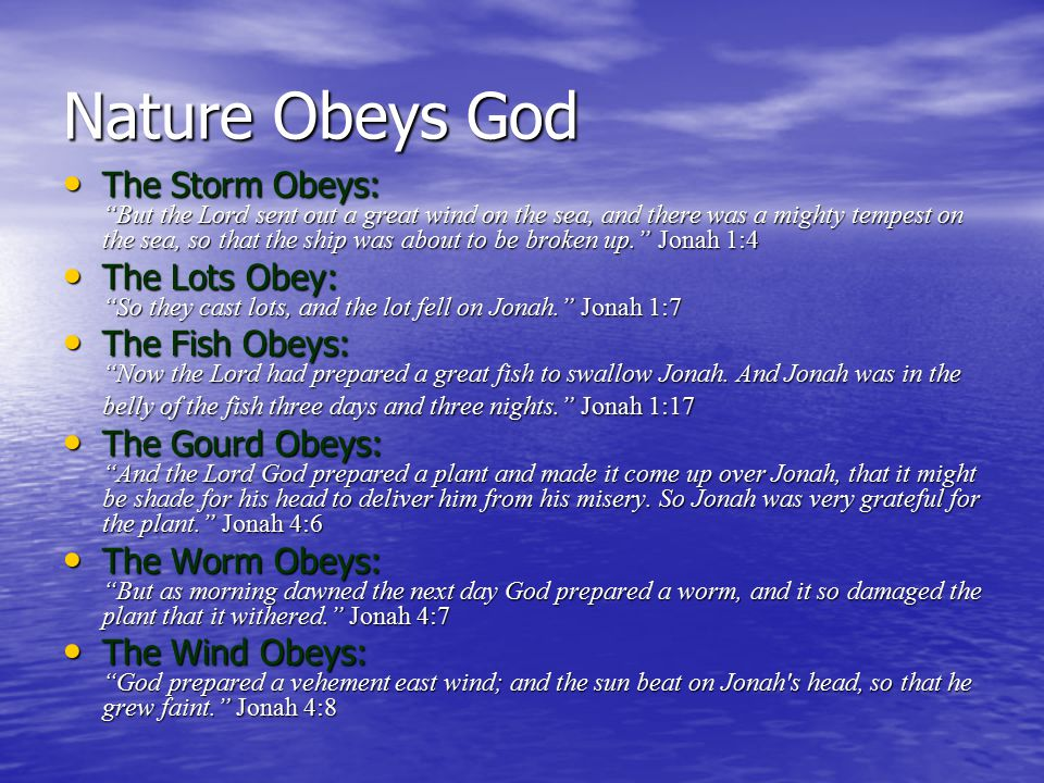 Nature Obeys God