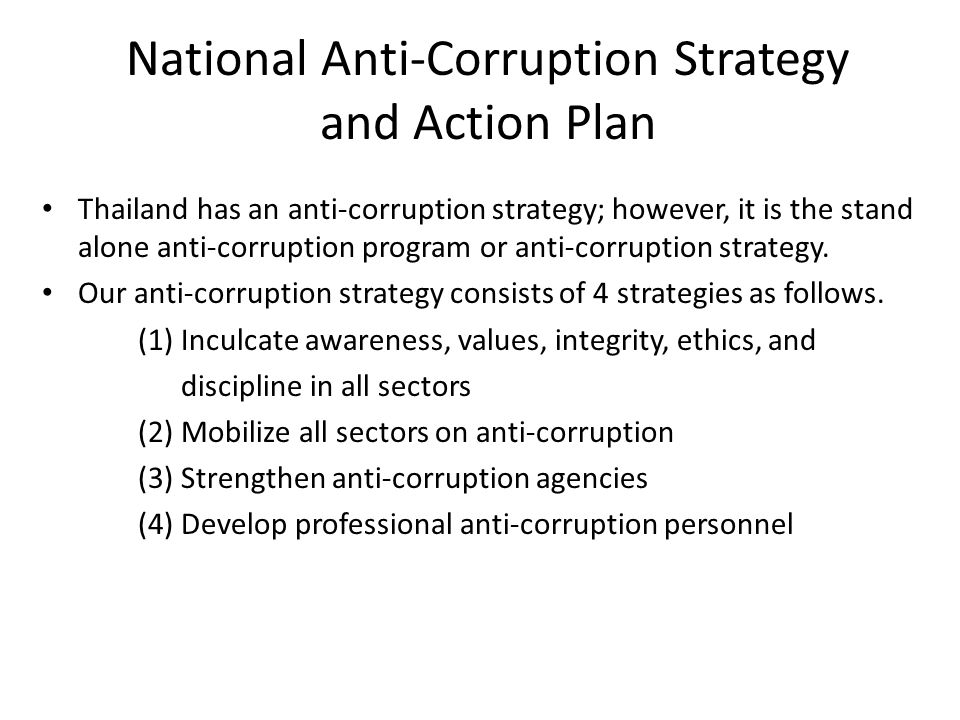 National Anti-Corruption Strategy and Action Plan