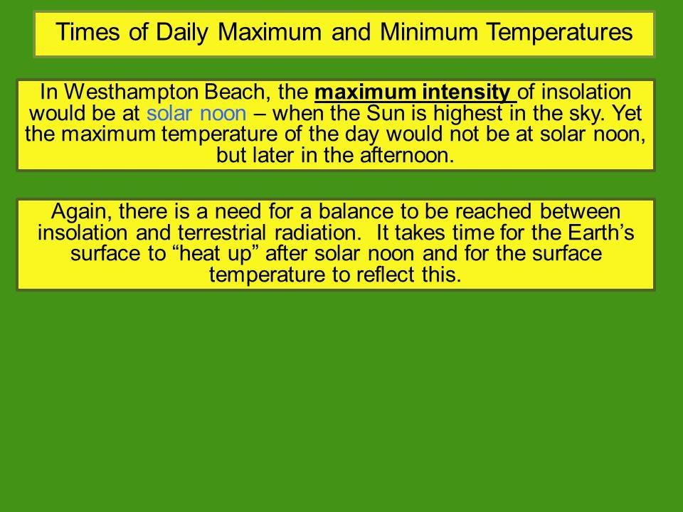 Times of Daily Maximum and Minimum Temperatures