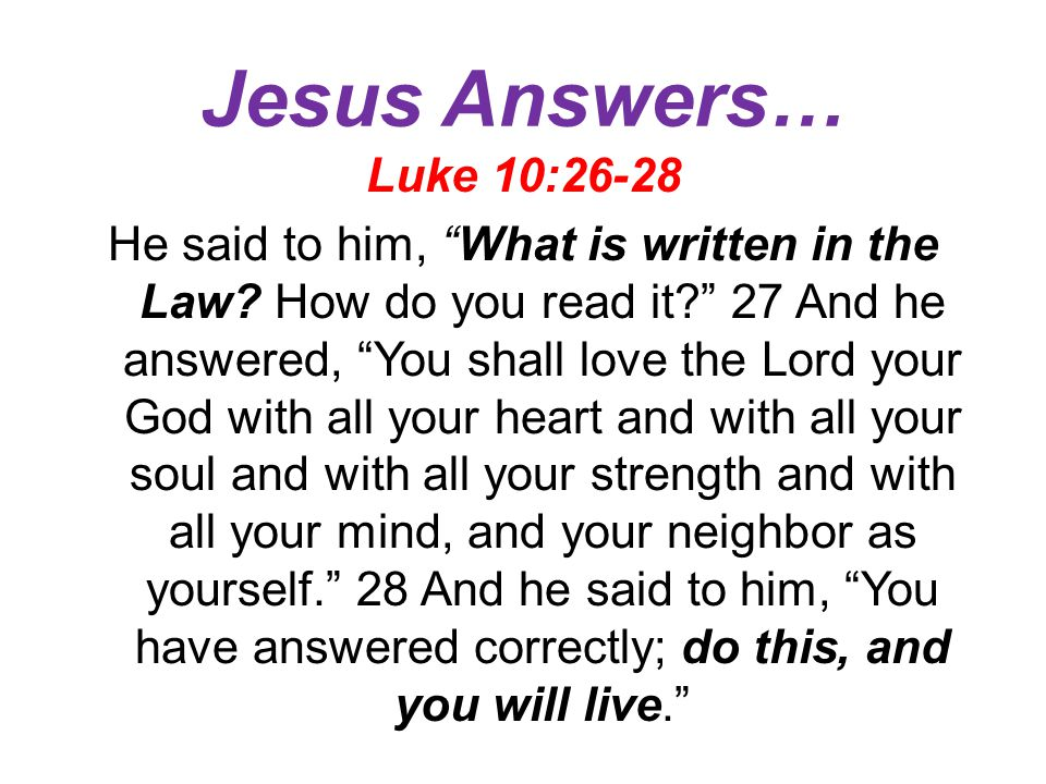 Jesus Answers…