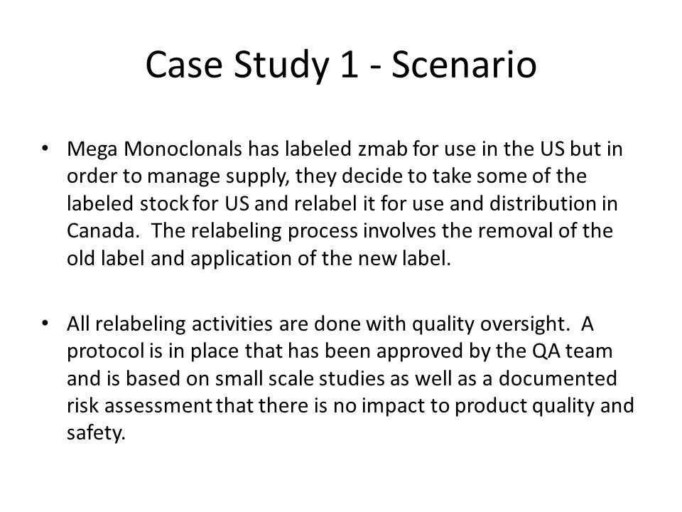 Case Study 1 - Scenario