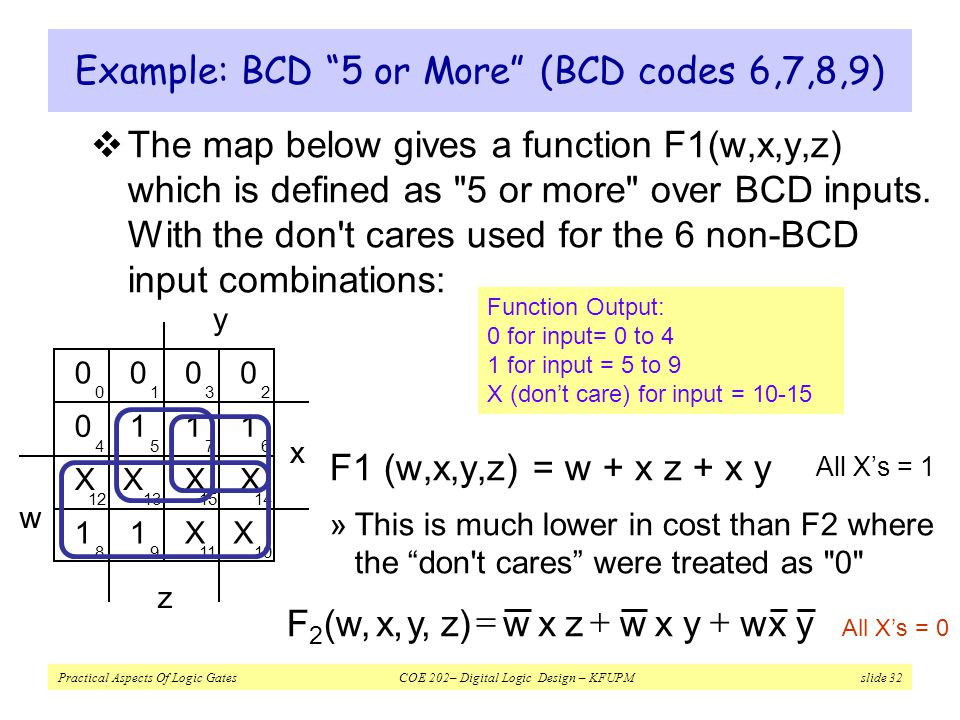 Example: BCD 5 or More (BCD codes 6,7,8,9)