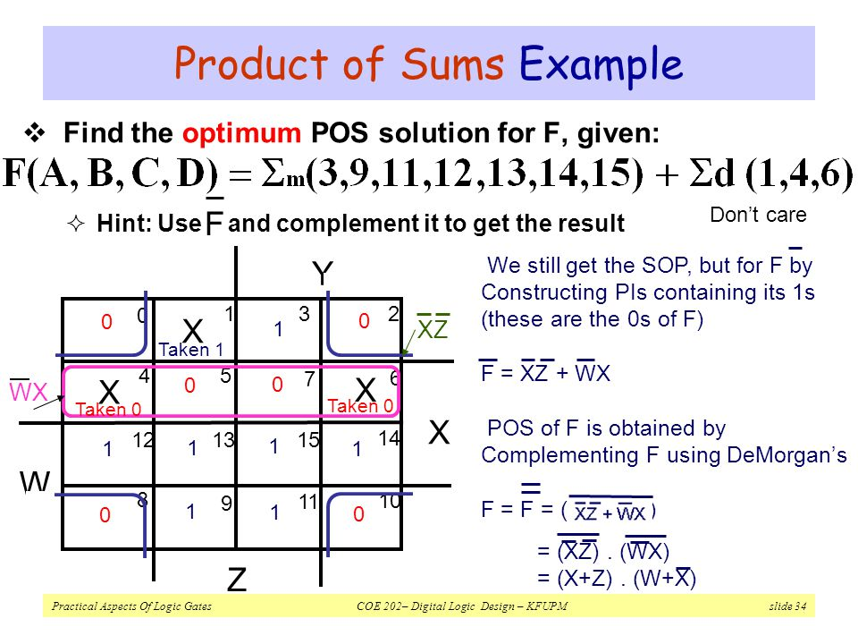 Product of Sums Example