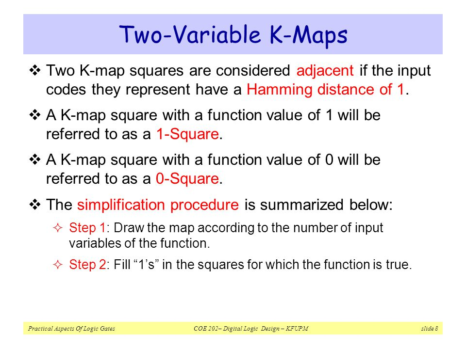 Two-Variable K-Maps Two K-map squares are considered adjacent if the input codes they represent have a Hamming distance of 1.