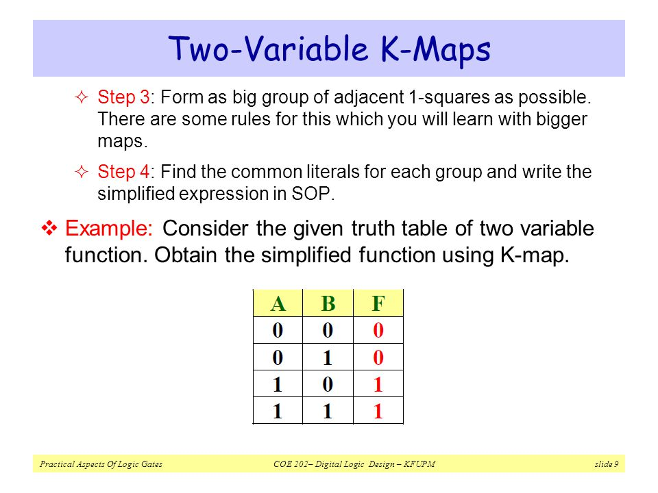 Two-Variable K-Maps Step 3: Form as big group of adjacent 1-squares as possible. There are some rules for this which you will learn with bigger maps.