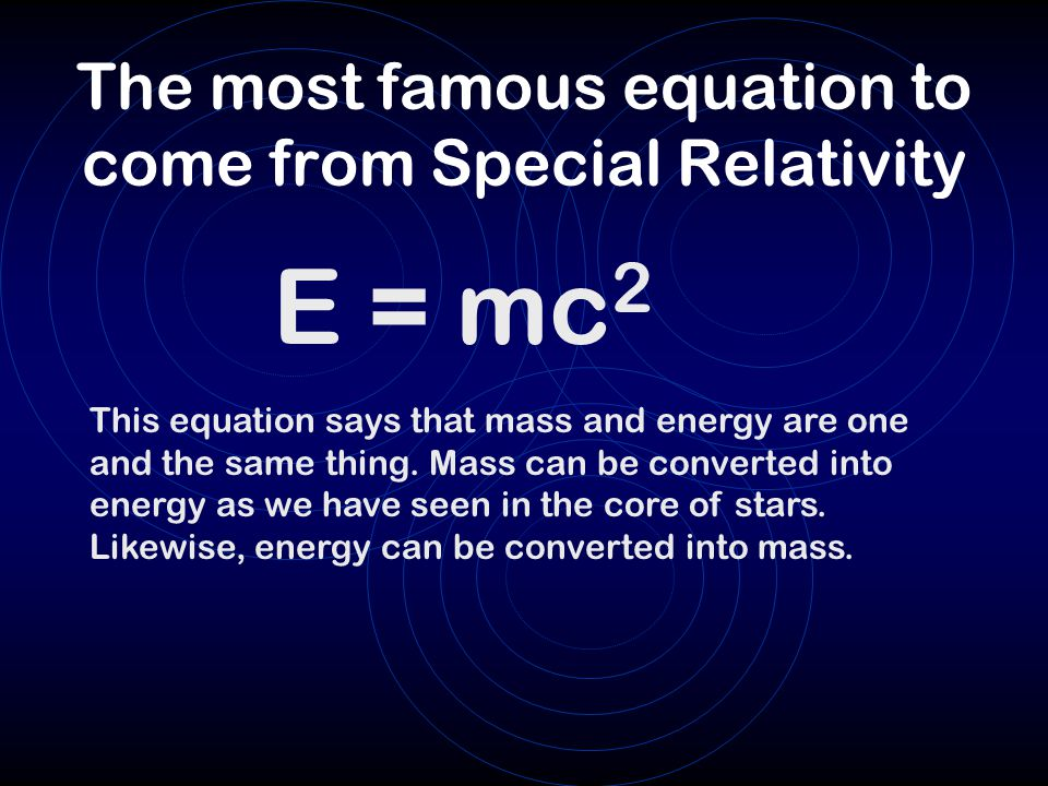 The most famous equation to come from Special Relativity
