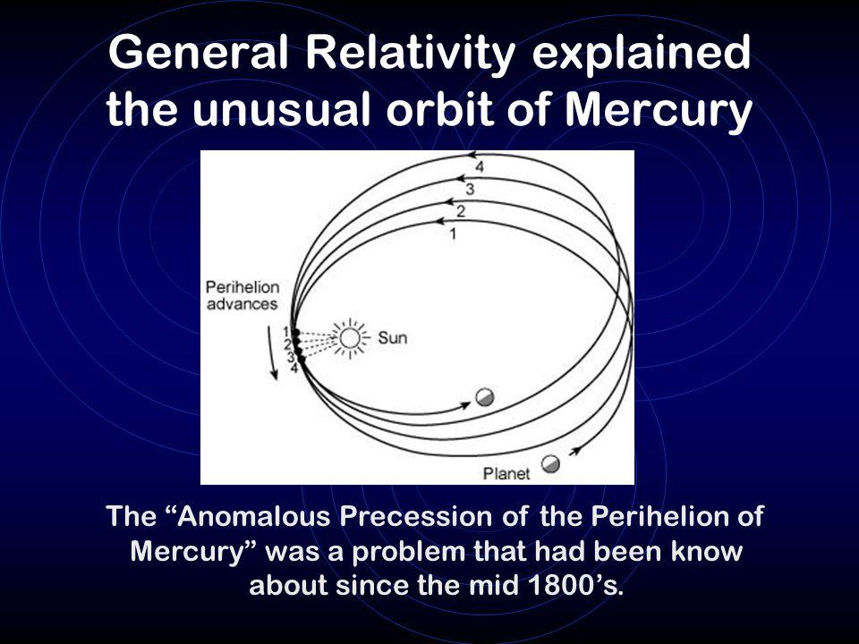 General Relativity explained the unusual orbit of Mercury