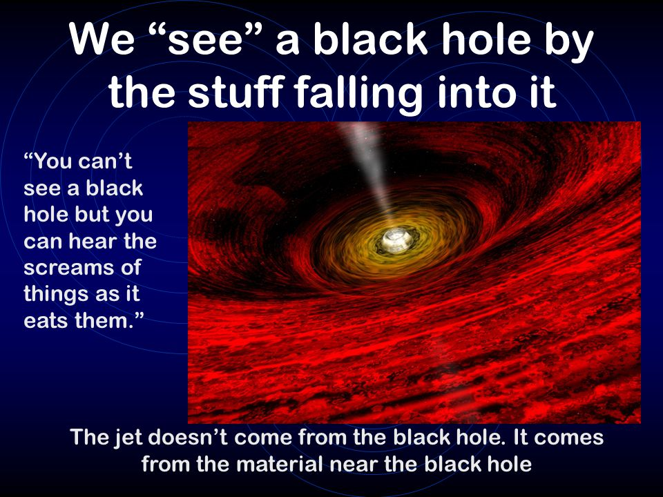 We see a black hole by the stuff falling into it
