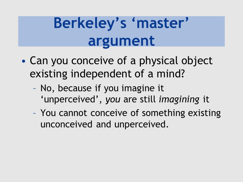Berkeley's 'master' argument