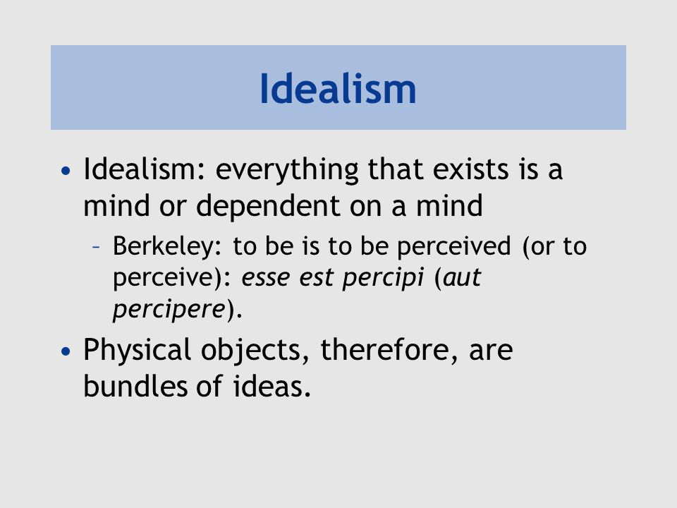 Idealism Idealism: everything that exists is a mind or dependent on a mind.