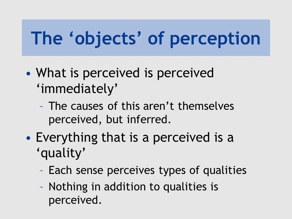 The 'objects' of perception