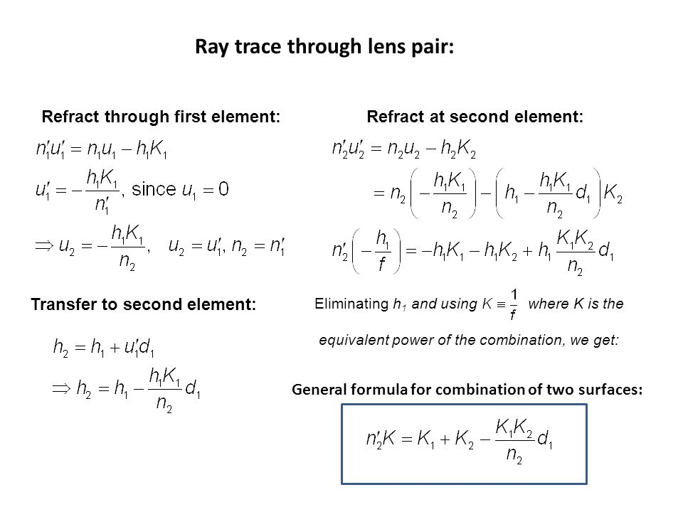 Ray trace through lens pair: Refract at second element: