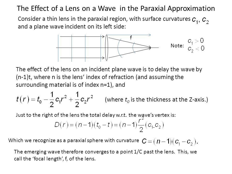 The Effect of a Lens on a Wave in the Paraxial Approximation