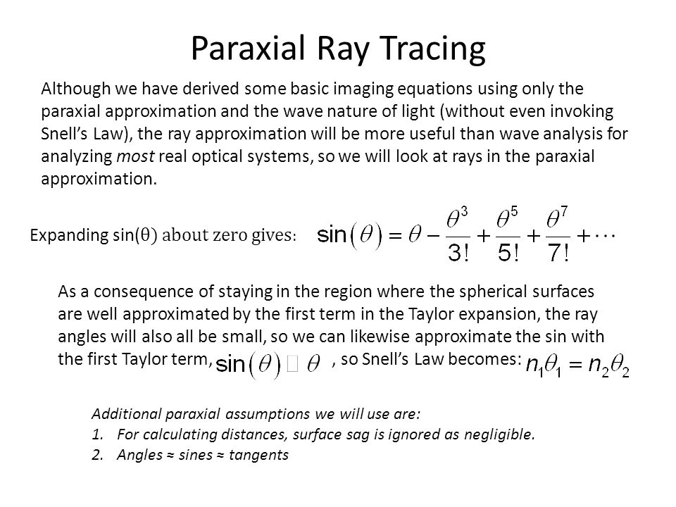 Paraxial Ray Tracing