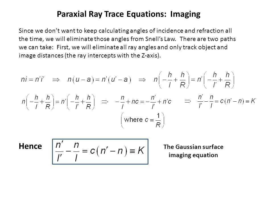 Paraxial Ray Trace Equations: Imaging