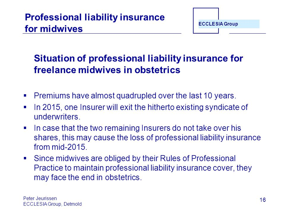 Professional liability insurance for midwives