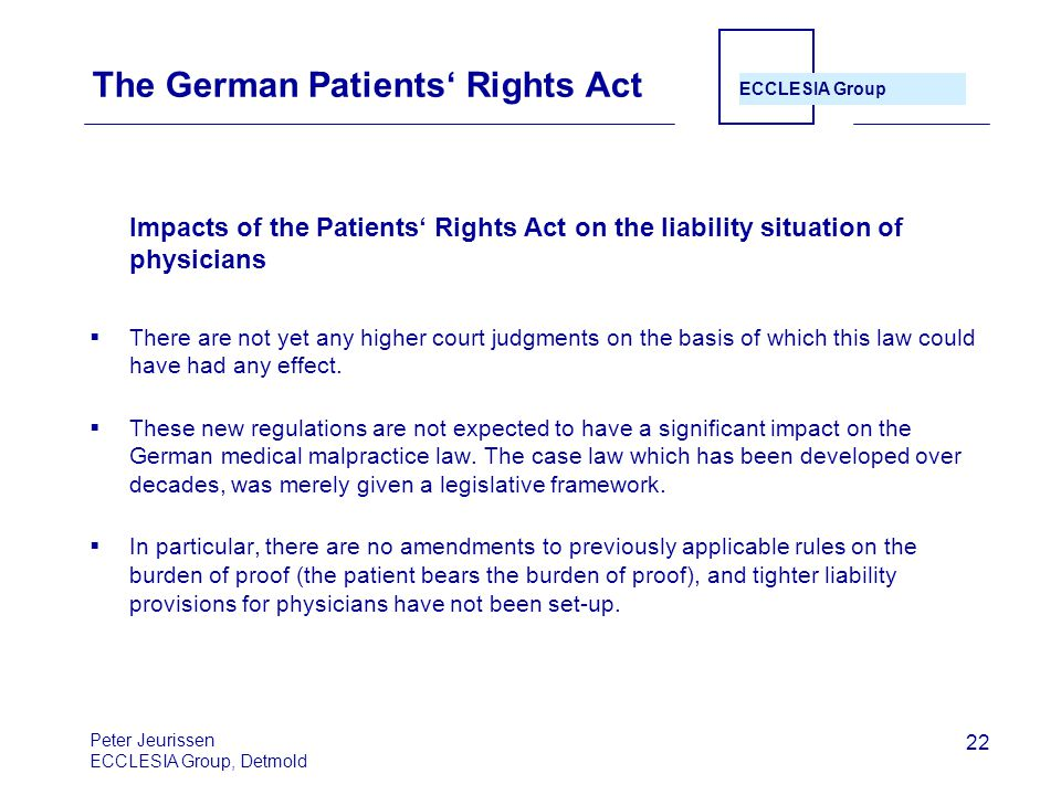The German Patients' Rights Act