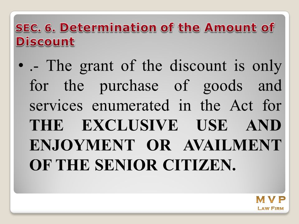 SEC. 6. Determination of the Amount of Discount