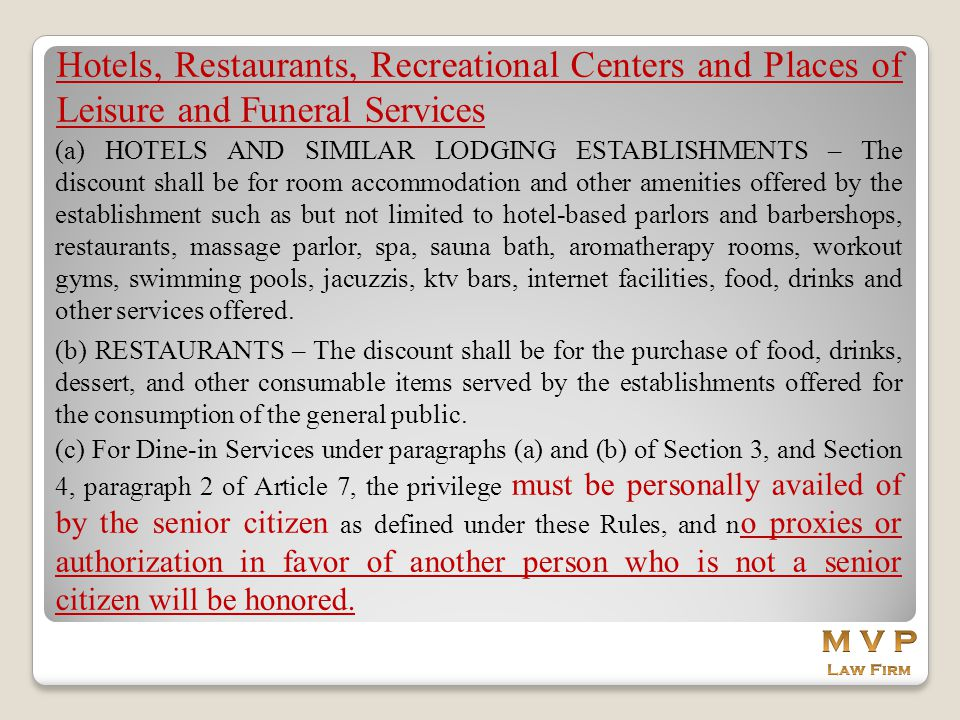 Hotels, Restaurants, Recreational Centers and Places of Leisure and Funeral Services