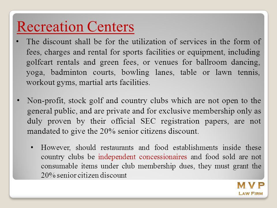 Recreation Centers M V P