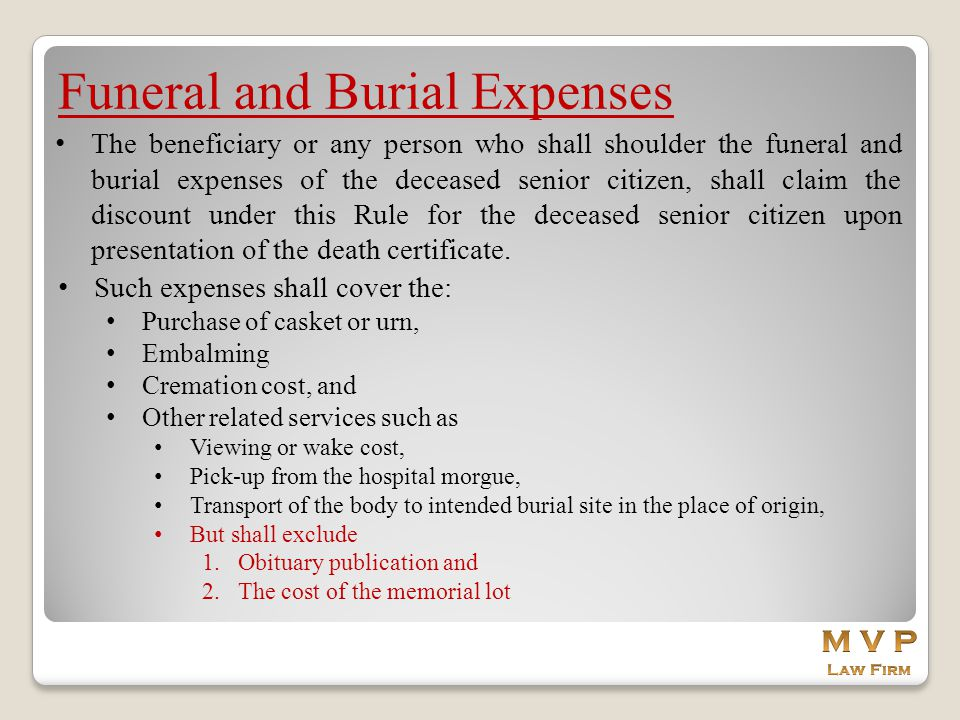 Funeral and Burial Expenses