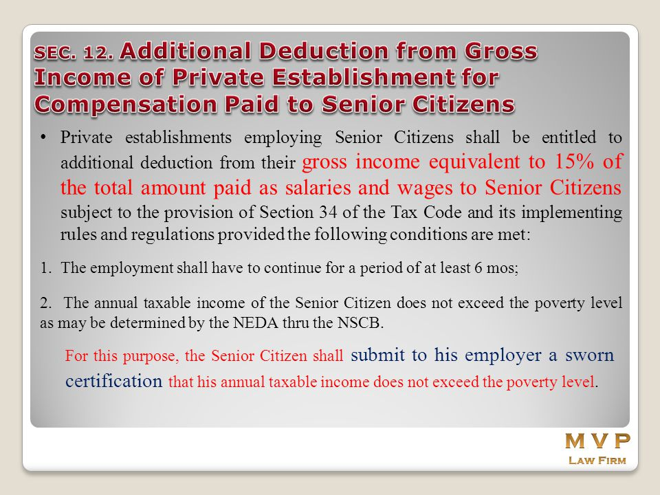 SEC. 12. Additional Deduction from Gross Income of Private Establishment for Compensation Paid to Senior Citizens