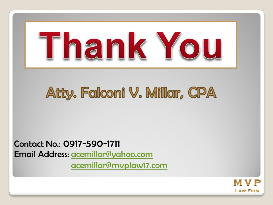 Thank You Atty. Falconi V. Millar, CPA